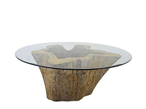 Antike Fundgrube Runder Esstisch mit Glasscheibe und Wurzelholz | Tisch Glastisch Konferenztisch | unbehandelt | D: 185 cm (9290)