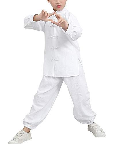 Unisex Niños Ropa de Tai Chi Tang Traje Rendimiento Artes Marciales Kung Fu Uniformes Conjunto Blanco 120