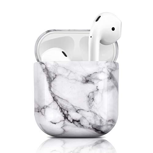 Newseego Kompatibel mit AirPods Hülle, Ultradünnes Marmor Case Vollschutz Hülle Marmor Muster Airpods Tragbare Hülle für Apple AirPods Earpods Ohrhörer-Ladetasche - Weiß