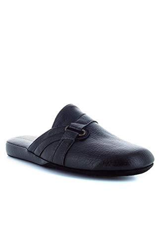 FALCADE 2690 Ciabatte Pantofola da Camera Uomo in Pelle Sintetica nel Colore Nero.