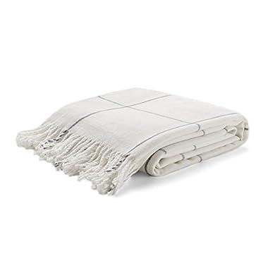 Arus Highlands Collection Tartan Plaid Design Throw Blanket Off-White 60  X 80
