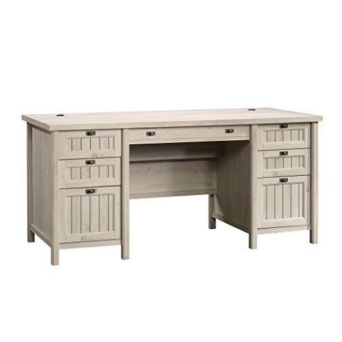 Sauder Costa Executive Desk, L: 65.12' x W: 29.53' x H: 30.0', Chalked Chestnut finish