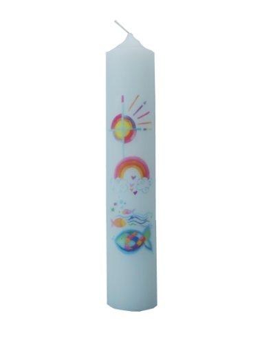 Taufkerze mit Kreuz, Sonne, Regenbogen, Fischen, 256x50 mm