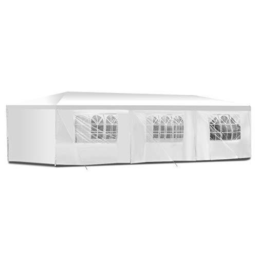 BOUDECH Tenda/Gazebo per Feste Impermeabile Bianco Tendone per Fiere,Feste e Mercati. Disponibile in Due Misure 3x6 e 3x9 (3x9 M)
