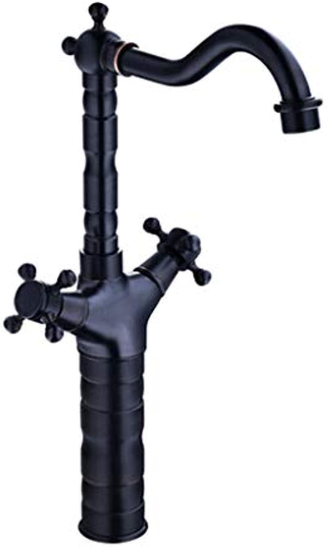 YHNUJMIK Schwarzer Kupferhahn Einlochmontage-Wasserhahn Spiral-Doppelgriff mit heier und kalter Doppelsteuerung Keramikspule,schwarz,B