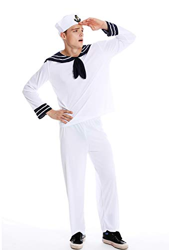 dressmeup Dress ME UP - M-0031 Kostüm Herren Karneval Halloween Matrose Seemann Gr. S/M
