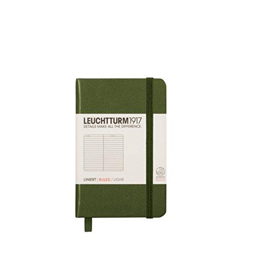 LEUCHTTURM1917 349362 Notizbuch Mini (A7), Hardcover, 169 nummerierte Seiten, Army, liniert