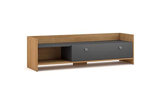 Vivaldi TV-Lowboard Unterschrank Open | 40 x 140 x 37 cm | Fernsehtisch aus Spanholzplatte | Fernsehschrank ideal für Wohnzimmer&Esszimmer | Eiche Artisan & Graphit Matt