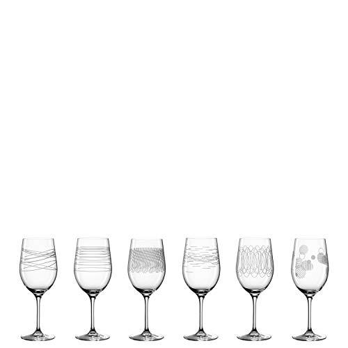 Leonardo Casella Wein-Gläser 6er Set, Kelchgläser mit Mustern, spülmaschinengeeignetes Wein-Glas, Rotwein-Gläser, Weißwein-Kelche 430 ml, 061799