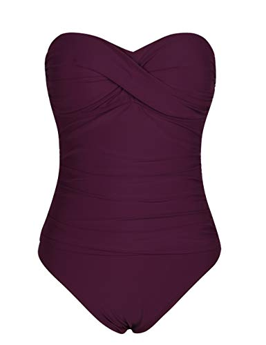 Hilor Women's Bandeau One Piece Swimsuits Front Twist Swimwear Ruched Bathing Suits Tummy Control Burgundy 14