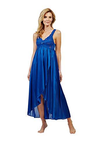 Shadowline Women's Silhouette Nylon Tricot Hi-Low Gown 35737 3X Navy
