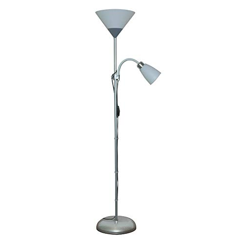 Lampadaire 2 Ampoules Lampadaire sur Pied Salon ArgentAvec Liseuse Bras de Lecture Réglable Plafond Luminosité RéglableMétal Verre Abat-jour E27 Lampe Halogene sur Pied Industriel Design Chambre LED