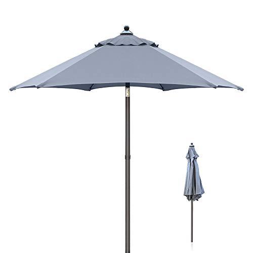 Ziigo Ombrellone da Giardino, ombrellone con meccanismo di inclinazione e Protezione Solare UV50+, griogio