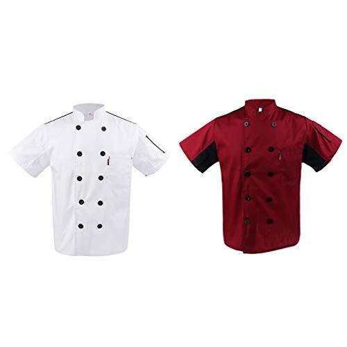 P Prettyia 2x Unisex Atmungsaktive Kochjacke Bäckerjacke mit Knöpfe Koch Arbeitsjacke Kochhemd Küche Arbeitskleidung XL - 3