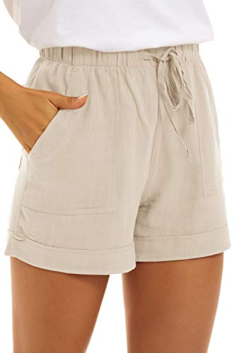 KINGFEN Womens Shorts Casual Lounge Cotton Shorts Casual for Summer Mid Rise Elastic Waist Linen Beach Pull On Comfy Drawstring Stretchy Short with Pockets Beige Large