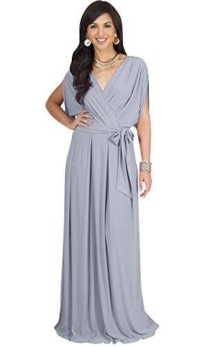 KOH KOH Womens Long Formal Short Sleeve Cocktail Flowy V-Neck Casual Bridesmaid Wedding Party Guest Evening Cute Maternity Work Gown Gowns Maxi Dress Dresses, Gray/Grey L 12-14