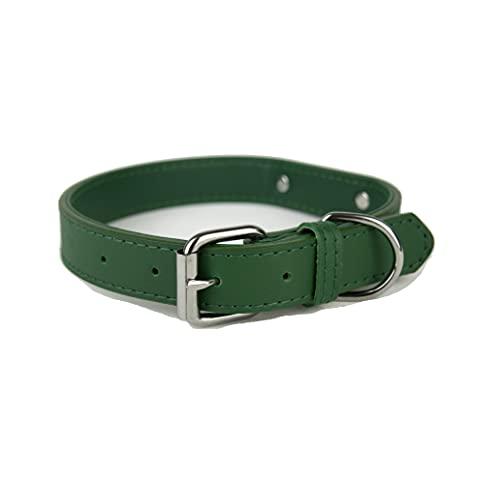 Collare per cani in morbida pelle imbottita con targhetta in metallo e anello a D, collare per cani di taglia piccola, media e grande (L, Verde)