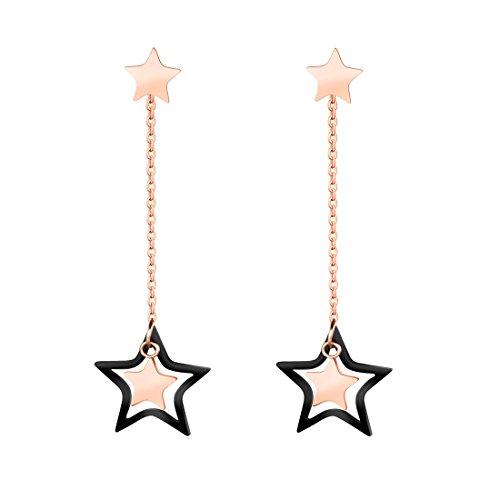 B.Z La Vie hebilla pendientes larga colgante (para mujer estrella oro rosa chapado en acero inoxidable
