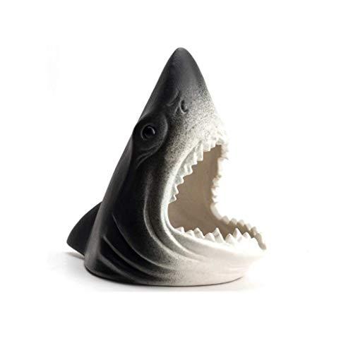 Cigarro para Cigarrillos Fancy Ceramic Shark AUMPUESTOS AUMPUESTOS ABIENTE Decorativos, Interior/Exterior Ash Bandeja para la Oficina en casa Interior (Color: Azul) YXF99 (Color : Black)