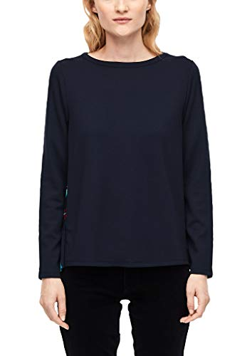 s.Oliver RED Label Damen Sweatshirt mit Plissée-Rücken Navy floral Print 38