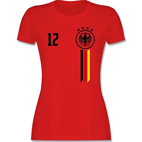 Fussball EM 2021 Fanartikel - 12. Mann Deutschland EM - M - Rot - wm 2018 Deutschland - L191 - Tailliertes Tshirt für Damen und Frauen T-Shirt