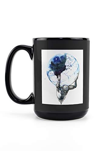 Lantern Press Abstract Ink Art of Atlas Holding The Earth 9023345 (15oz Black Ceramic Mug - Dishwasher and Microwave Safe)