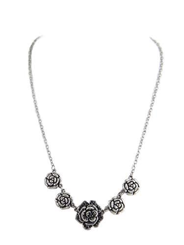 ALMBOCK Dirndl Kette silber - Trachten Halskette mit Rosenblüten - Oktoberfestkette zur Tracht
