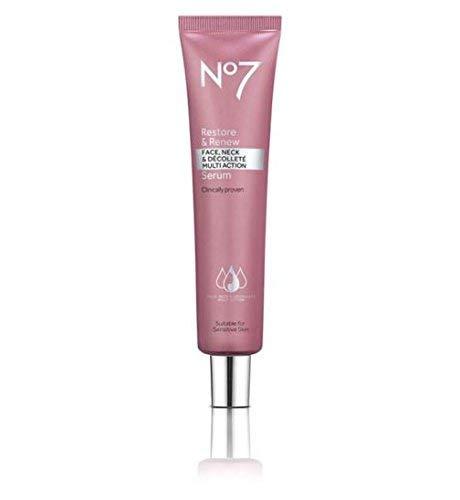 No7 Restore & Renew - Suero de acción múltiple para rostro, cuello y D, 75 m
