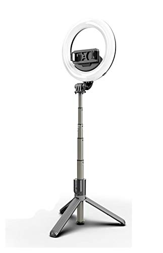YYCH TRIPON DE TELÉFONO 4 en 1 Selfie LED Anillo Luz Inalámbrico Bluetooth Selfie Stick Tripod Handheld Spandable Selfie Stick con Control Remoto Bluetooth Selfie Stick (Color : with Beauty Lamp)