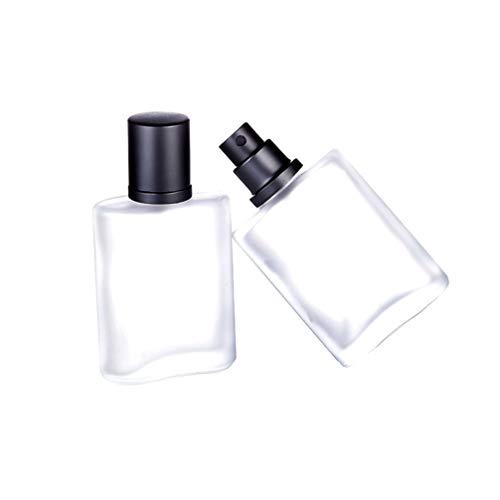 Lurrose 2 Piezas Botellas de Perfume 50 Ml Botella de Spray de Vidrio Esmerilado Transparente Botella Atomizadora Recargable Vacía para Perfume Aceite Esencial