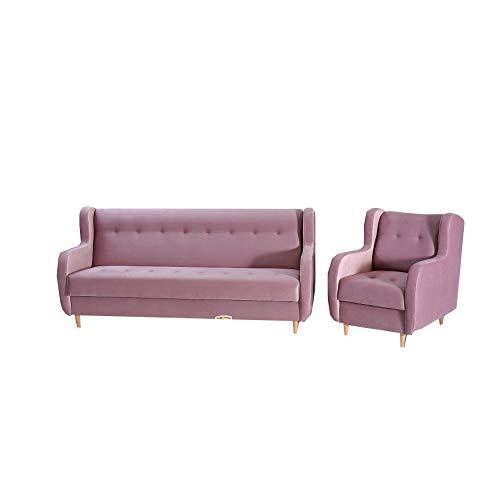 mb-moebel Polstergarnitur Sofa und Sessel Couch mit Bettkasten und Schlaffunktion Polstersofa 3+1 Danny (Rosa)
