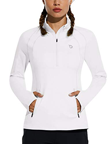 BALEAF Women's Fleece Half Zip Running Pullover Long Sleeve Thermal Workout Exercise Jackets Gear for Cold Weather White Medium