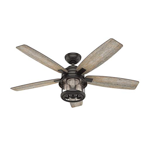 HUNTER 59420 Coral Bay Indoor / Outdoor Ceiling Fan with LED Light and Remote Control, 52', Noble Bronze