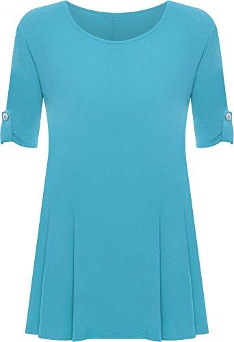 WearAll - Damen Übergröße Rundhalsausschnitt Kurzarm Ausgestelltem Lange Top - Blau - 50-52 / 22-24
