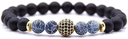 Pulsera Pulsera de piedra para mujer, 7 chakras, pulsera de cuentas de piedra con grietas azules naturales, brazalete elástico de la suerte, joyería con bola de circonita dorada y pavé para unisex