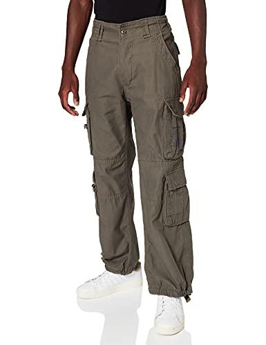 Brandit Pure Vintage da Uomo Pantaloni Cargo Taglie Fino 7XL - Verde, XL
