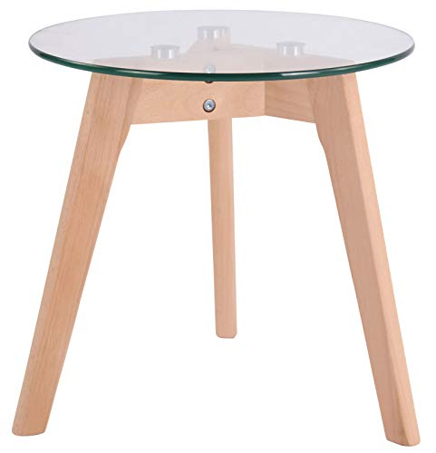 Tavolino Tondo in Vetro Motala Design Scandinavo I Tavolino Moderno Salotto con Telaio in Legno I Tavolo 3 Piedi per Soggiorno, Colore:Vetro Trasparente, Dimensione:40 cm