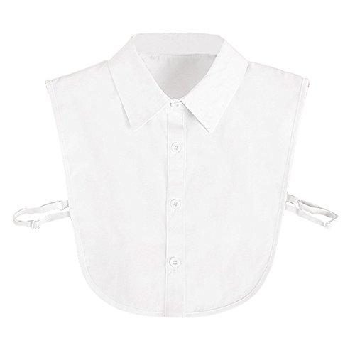 Hanmorlla Frauen Kragen Abnehmbare Hälfte Shirt Bluse Damen Blusenkragen Cotton Kragen Weiß