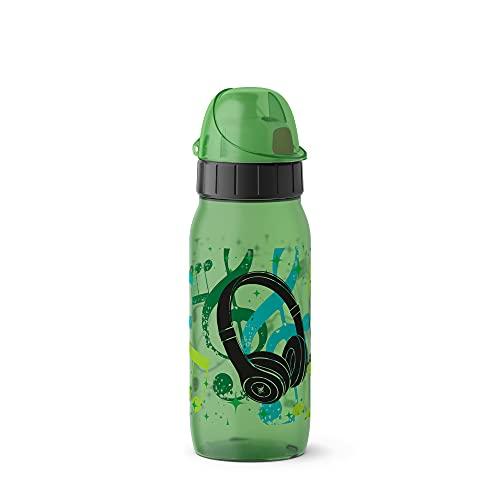 Emsa 518297 Drink2Go PP Trinkflasche | Fassungsvermögen: 0,5 Liter | Auto-Close-Kinderverschluss | 100% auslaufsicher und spülmaschinenfest | Material: Polypropylen | Headphones