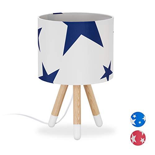 Relaxdays Tischlampe Stars, Kinderzimmerlampe, E14, Dreibein Lampe, Stoff Lampenschirm, Holz, HxD 39,5 x 25cm, weiß/blau