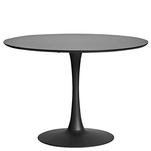 Tousmesmeubles Table de Repas Ronde Noire Pied Central - Still - L 110 x l 110 x H 75 - Neuf