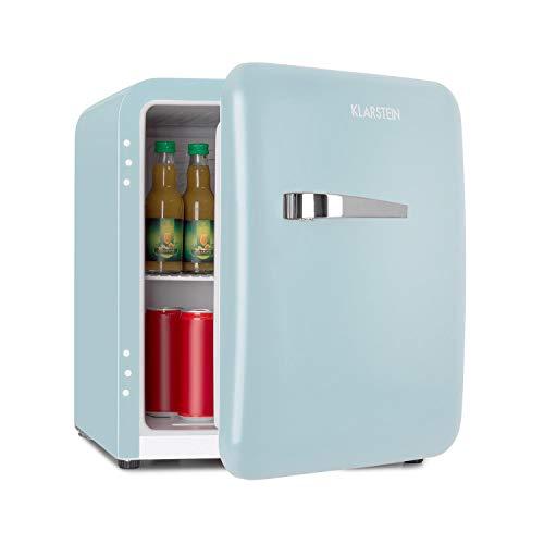 Klarstein Audrey Mini nevera retro - Mininevera, Nevera para bebidas, Eficiencia energética de tipo A+, 48 litros de capacidad, 2 plantas, Temperaturas de 0-10 °C, Zona de botellas, Azul