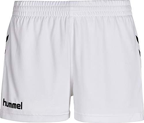 hummel - Pantalones Cortos de Deporte para Mujer, Mujer, Pantalones Cortos, 011086-9006, White Pr, Small
