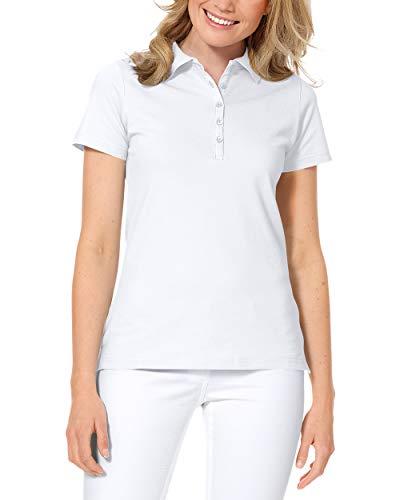 CLINIC DRESS Shirt Poloshirt für Damen - Kurzarm Stretch mit 96% Baumwolle für Krankenschwestern, Ärztinnen und Pflegepersonal weiß 38/40