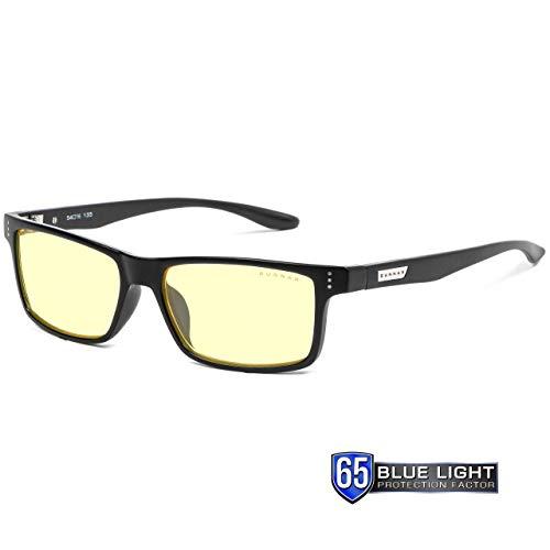 Gunnar Gaming- und Computerbrille | Cruz (age 12+) | Onyx Rahmen, Amber Linse | Patentierte Linse, 65% Blaulicht- & 100% UV-Lichtschutz zur Verringerung der Augenbelastung
