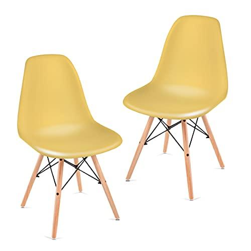 Mc Haus Sena Mostaza X2 Pack 2 sillas De Comedor, 82x46x51cm