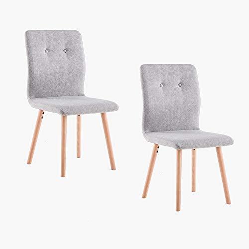 Marca Amazon -Movian Wye - Juego de 2 sillas de comedor, gris claro