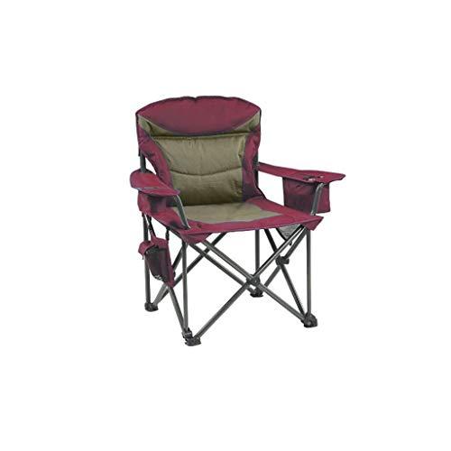ZRJ Sillas plegables al aire libre Silla plegable ligera y compacta con soporte para tazas y bolsillo lateral para camping, cuádruple, sillas plegables (color rojo)