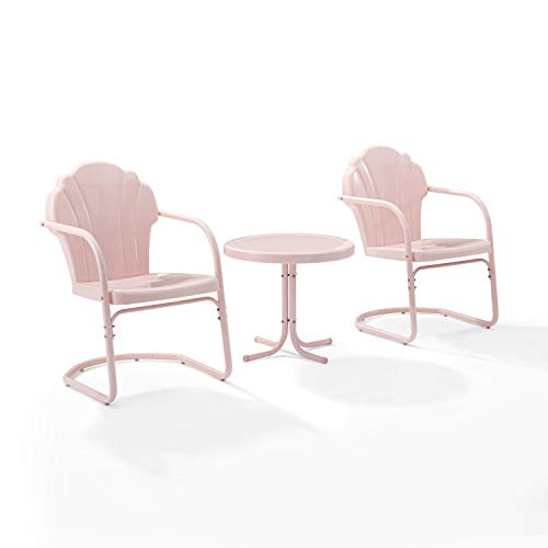 Crosley Furniture KO10011PI Tulip Retro Metal 3-Piece Seating Set (2 Chairs and Side Table), Pink