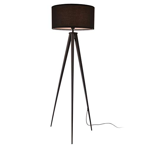 lux.pro] Lampada da Terra a Treppiedi Faro Altezza 153 cm Paralume 50 x 23,5 cm E27 60W Metallo Tessuto Nero